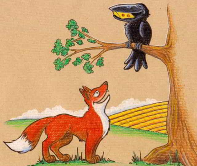 Лиса и ворона картинки для детей
