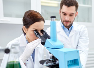 биолог смотрит в микроскоп